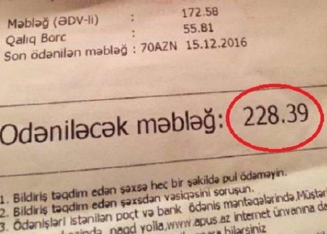 Bakıda sakinləri şoka salan qəbz: 220 manatlıq kommunal haqqı