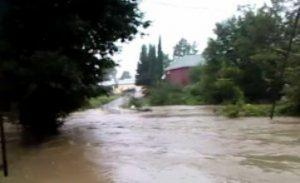 Qaxda güclü yağış nəticəsində evləri su basıb