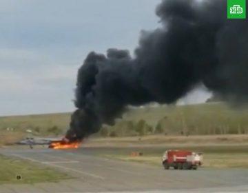 """Rusiyanın """"MiQ-31"""" qırıcısı yandı – VİDEO"""